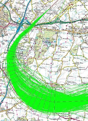 Before – flight tracks using traditional navigation procedures on the Clacton 22 departure route.