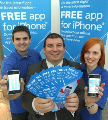 Launching the app at Stansted today was Craig Knott from Reach, Steve Mills - Stansted Airport's iPhone app development Manager, and Katie Ambrozay (Reach)